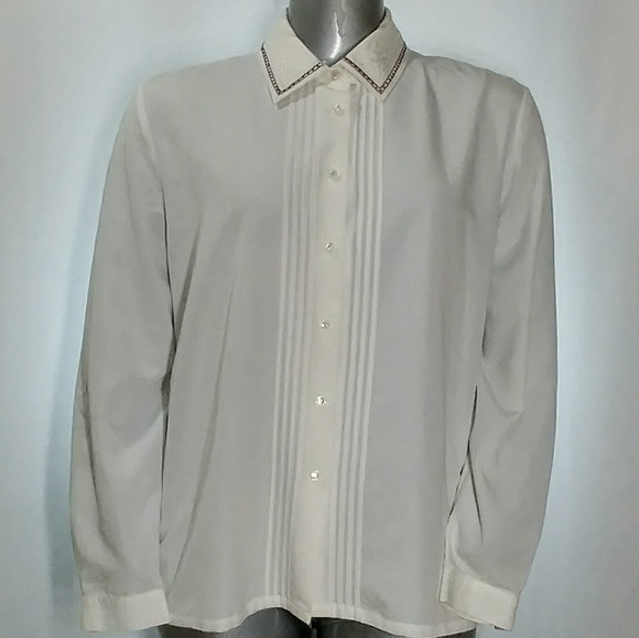 8755fb4fabd Koret Tops - Koret White Embroidered Collar Pintuck Pleat Dress